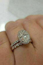 Wedding Ring Solid 14k Rose Gold 2.00Ct Oval Cut White Diamond Halo Engagement