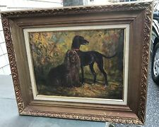 Zoltan Benyey Dogs Painting 15.5 x 12.5 Used Framed