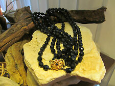 Vintage Gold tone Faux Black Onyx Faceted Beads Beaded Double Strand Necklace