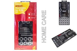 AM-TECH 40 PCS METRIC TAP WRENCH AND DIE SET CUTS M3-M12 BOLTS & HARD CASE