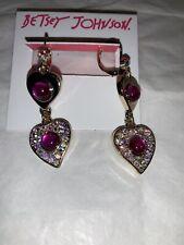 Betsey Johnson Goldtone Fuchsia Pink Breaking Hearts Double Heart Drop Earrings