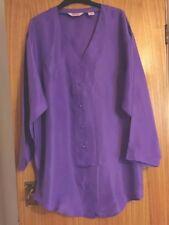100% PureSilk Purple Ladies Long Blouse/Tunic Size MPlus 14-16Brand New