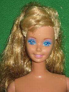 VINTAGE 80's BARBIE DOLL- NUDE FOR OOAK - HONEY BLOND HAIR -LAVENDER EYE SHADOW