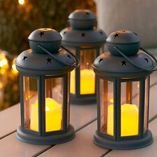 Set of 3 Grey Battery Operated LED Candle Lanterns for Indoor Outdoor Use