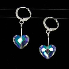 *SJ1* Heart Sterling Silver Dangle Earrings w/ Swarovski Crystal Paradise