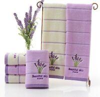 Purple White Face Towels Bathroom Soft Cotton Lavender Facial Care Absorbent