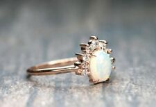 Prong Setting Opal & Diamond Crown Engagement Ring 14k Solid Gold