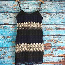 bebe blue white black Star Lace Mini Dress