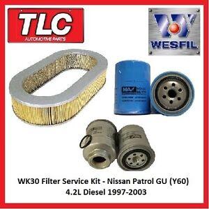 WK30 Filter Service Kit Patrol GU (Y60) 4.2L Diesel 1997-2003 (Same Oil Filter)