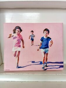 original painting of children running pink and blue canvas by Tali Yalenetski