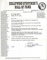 John Hagner Signed 1984 Hollywood Stuntmen's Hall of Fame Typed Letter
