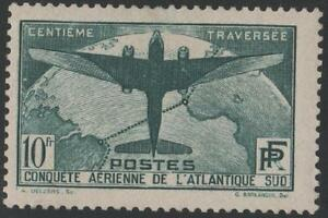 "FRANCE N° 321 "" TRAVERSEE ATLANTIQUE SUD AVION 10F VERT FONCE "" NEUF xx TTB"