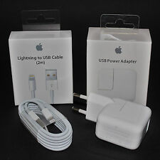 100% Original Apple Lightning Kabel 2m + 12W Netzteil iPhone 5 6 7 8 X iPad NEU