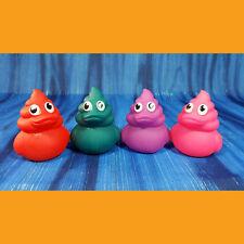 Poop Emoji Set of 4 Rubber Ducks Colorful Rainbow Red Pink Purple Green Birthday