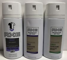 Lot of 3 Axe Night & Forest Antiperspirant Dry Spray 48 Protection 3.8 oz. Each