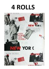 New York Wallpaper White Black Red Metallic Silver Cityscape Postcards x 4 Rolls