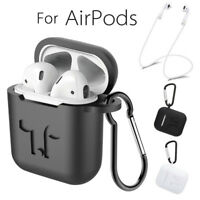 Silicone Earphone Case Cover With Carabiner +Anti-lost Strap For Apple Airpods