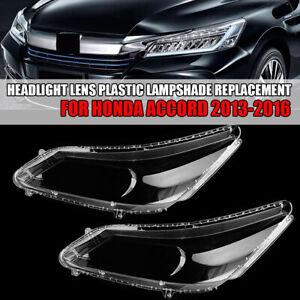1 Pair Headlight Lens Plastic Lampshade Replacement For Honda Accord 2013-2016