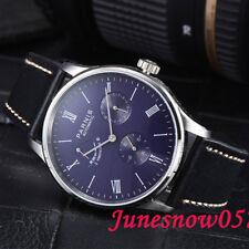 42 mm parnis Men's Watch Power Reserve Cadran Bleu Date Seagull mouvement automatique