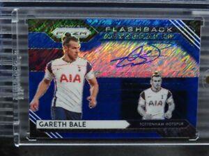 2020-21 Prizm Gareth Bale Blue Shimmer Flashback Autographs Auto Tottenham J68