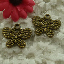 free ship 120 pieces bronze plated butterfly charms 24x21mm #3030