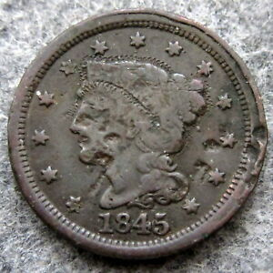 UNITED STATES 1845 ONE CENT, LIBERTY HEAD - BRAIDED HAIR