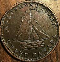 1820 UPPER CANADA COMMERCIAL CHANGE HALF PENNY TOKEN -Medal die axis- Very nice!