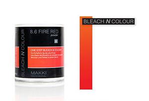 8.6 FIRE RED BLEACH N COLOUR ONE STEP BLEACH AND COLOUR POWDER DYE NEW MAKKI PRO