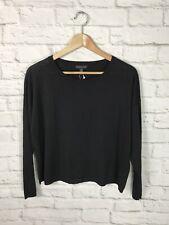 NEW Eileen Fisher Womens Black Linen Crepe Long Sleeve Shirt Size XS