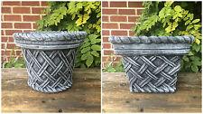 Square & Round Wicker Style Planter Garden Ornament Latex & Fibreglass Moulds x2