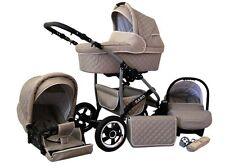 Kinderwagen Qbaro, 3 in 1- Set Wanne Buggy Babyschale Autositz Khaki