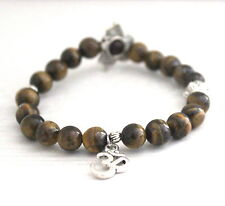 Tiger Eye Power Beads OM LOTUS Charm Healing Chakra Bracelet Crystal Gemstone