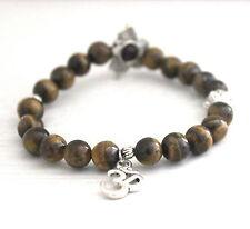 Tiger Eye Power Beads OM LOTUS Charm Healing Chakra Bracelet Crystal Gemstone
