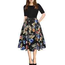 Women Casual Elegent A-line Floral Vintage Print Evening Party Vestidos Dress CA