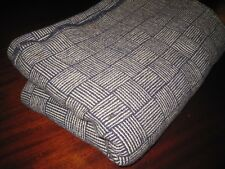 Handsome Antique Indigo Blue White Homespun Wool Blanket 19Thc As Is Condition