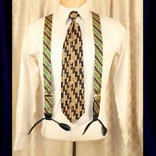 UNBRANDED  Yellow Gold with Blue and Green Geometric Man Suspenders