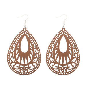 12 pairs Good Quality Wood Hollow Woman Wooden Earrings Pendant 1.8x2.7'' E59