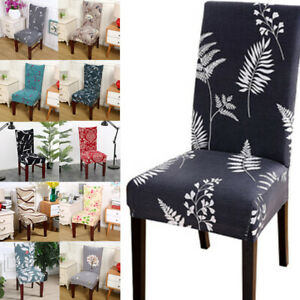 Stretch Dining Chair Seat Covers Floral Printed Slipcover Wedding Banquet Decor