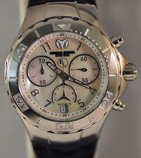 New Womens Technomarine 416033 Eva Longoria Swiss Chrono MOP Dial Leather Watch