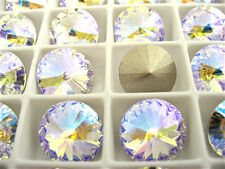 4 Crystal Glacier Blue Foiled Swarovski Crystal Rivoli Stone 1122 12mm