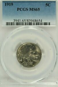 1919 Buffalo Nickel : PCGS MS65 Blazing White