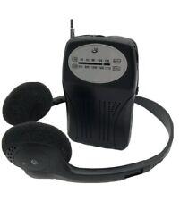 GPX R116B Portable Handheld AM/FM Radio with Headphones (AL)