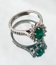 Princess Diana Style White Gold 18ct Emerald Diamond Engagement Ring