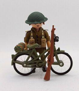 PLAYMOBIL Soldado EJERCITO BRITANICO CON BICICLETA WW2 GUERRA MUNDIAL NEW!!