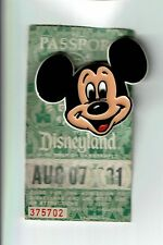 1981 DISNEYLAND MAGIC KINGDOM 1-day ticket pass w/ plastic Mickey Pouse pin