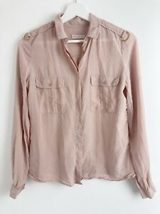 Whistles Womens Dusty Pink 100% Silk Long Sleeve Shirt Blouse Top Size 8