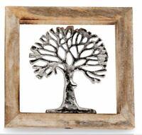 502155-1 Wandbild Lebensbaum 20x20cm aus Aluminium und massivem Mangoholz-Rahmen