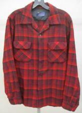 Pendleton Vintage 60s Men M Plaid Wool Board Shirt red Loop Collar window pane