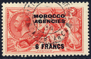 MOROCCO AGENCIES (FRENCH) 1924-32 SEAHORSE 6F ON 5/- ROSE-RED VERY FINE CDS USED
