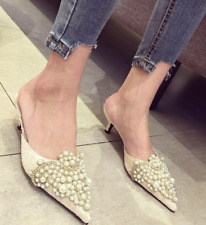 Rhinestones Pearl Slingback Slippers Mules Cuban Mid Heel Shoes Women Pointy Toe